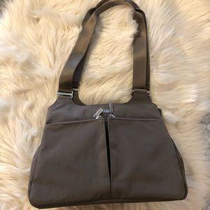 Baggallini taupe shoulder handbag and wristlet
